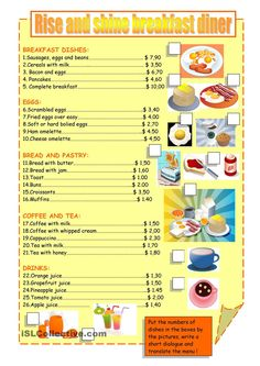 Vocabulary used when ordering breakfast in a restaurant. Math Practice Worksheets, Fractions Worksheets, Free Kindergarten Worksheets, Printable Math Worksheets, Science Worksheets, Worksheets For Kids, Money Worksheets, Comprehension Worksheets, Printables