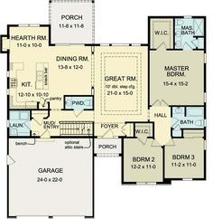 Ranch house plans  Living spaces and House plans on PinterestFirst Floor Plan of Ranch House Plan sq ft