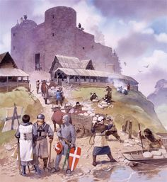 Danish and German Crusaders building fortifications at the existing Vod tribal settlement of Koporye (1241).