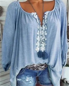 Plus Size Casual Long Sleeve V neck Solid Appliqued Blouse Plus Size Casual, Casual Tops, Casual Wear, Plus Size Blouses, Plus Size Tops, Vetement Hippie Chic, Boho Tops, Types Of Sleeves, Half Sleeves