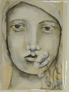 Pam made it look like this with just gesso, a Stabilo Aquarellable pencil and some water. pam carriker's face stencils