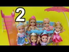 PART 2! Pool Party-Elsa & Anna's kids! Water Slide ! Rapunzel, Ariel, Sleeping Beauty's kids - YouTube