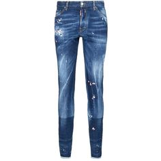 Dsquared2 'Cool Guy' floral embroidered distressed jeans (€440) ❤ liked on Polyvore featuring men's fashion, men's clothing, men's jeans, blue, mens ripped denim jeans, men's paint splatter jeans, mens distressed jeans, mens denim jeans and mens destroyed jeans