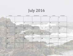 Calendar for 2016 with California Beaches in the background. July shows waves crashing on the rocky shoreline of Asilomar State Beach at the Monterey Peninsula
