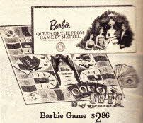 Barbie Board Game  Price:$2.86  Description Barbie Board Game, play to become elected as Prom Queen.