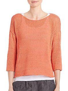 Eileen Fisher Crisp Cotton Boatneck Sweater - Guava - Size