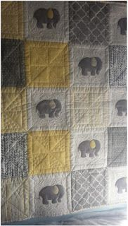 Seamingly Slawson Quilts: Elephant baby quilt (photo only;Baby Elephant Baby Quilt Free Pattern available upon request.Seamlessly Slawson Quilts: Elefantenbabydecke mit So fein!Just finished quilting a client's baby elephant quilt. Baby Patchwork Quilt, Cot Quilt, Baby Boy Quilts, Grey Quilt, Girls Quilts, Baby Quilts Easy, Quilted Baby Blanket, Quilt Top, Elephant Quilts Pattern