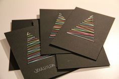 Christmas cards crafts diy gift wrap yarn Christmas tree
