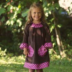 Brown Corduroy Fuchsia Pocket Dress