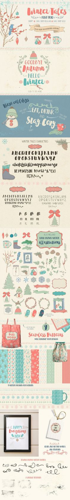 Winter Tales Font Trio + extras. Wedding Card Templates. $18.00