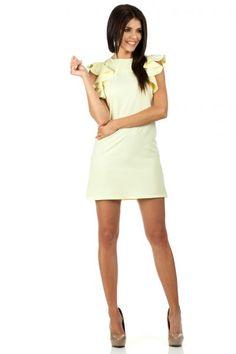 Żółta trapezowa sukienka o długości mini