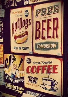 ESPECIAL DIA DOS PAIS: Uma decoração retrô é sempre charmosa, ainda mais se for com essas telas com tipografias divertidas!  #adoro #adoropresentes #lojavirtual #lojaonline #decor #decoração #home #telas #retro #vintage #beer #coffee #tipografia Canning, Retro, Vintage, Home, Canvas Frame, Dads, Gifts, Fabrics, Ad Home