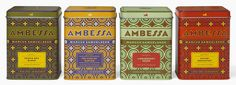 Ambessa -Ethiopian for lion- is a new line of imported teas for chef Marcus Samuelsson, designed by the super-talented, Louise Fili.  The flavors trace Samuelsson's history—from African birthplace (Safari Breakfast) to American home (Earl of Harlem).