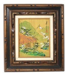 Antique Asian Abstract Mountain Scene Painting in Carved Wood Frame