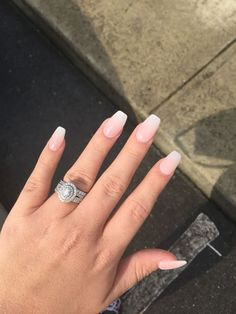 coffin shaped french tip nails - Google Search