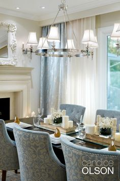 Elegant dining room with steel blue chairs