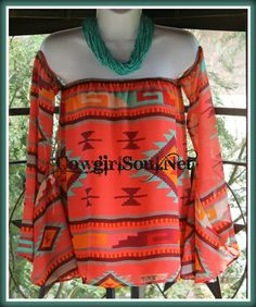 Tribal Inspired Chiffon Top Small-Large  $31.95 http://www.cowgirlsoul.net/catalog.php?item=1420