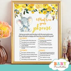 Yellow Floral Elephant Baby Shower Games – D437 - Baby Printables