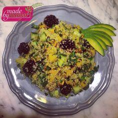 Quinoa salad with avocado, roasted butternut squash, cucumber, and blackberries stirred into a fresh herb lemon red pepper dressing... Perfect for #Ekadasi tomorrow! #madebymanjari #vegan #vegetarian #vegetarianvancouver #yvr #goveg #glutenfree #fresh #healthyeats #foodstagram #prasadam #avocado #blackberry #butternutsquash #cucumber #quinoa #lemon #yummy #parsley #mint