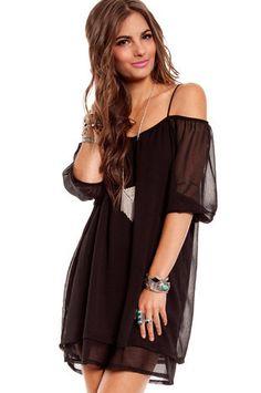 Amerie Off Shoulder Dress in Black :: tobi