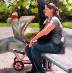 """At the Park"" - Original Fine Art for Sale - © Sandy Haynes"