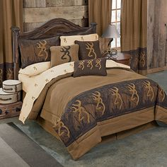 Beautiful Browning Oak Tree Buckmark Comforter Bedding Set In A Bag   Twin, Full,  Queen, King