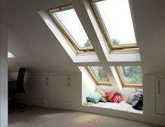 Roof Windows for Loft Conversion Attic Master Bedroom, Attic Bedroom Designs, Attic Bedrooms, Attic Design, Bedroom Loft, Loft Conversion Windows, Loft Conversion Bedroom, Loft Conversions, Stairs To Attic Conversion
