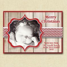 Mod Simply Shabby Chic Rustic Photo Holiday Christmas Card - PRINTABLE CARD DESIGN. $13.00, via Etsy.