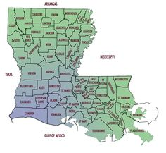 Louisiana Parish Map With Parish Names Been There Pinterest