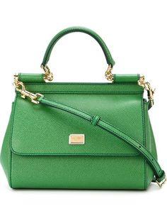 Dolce & Gabbana Medium Sicily Top Handle Bag In Green Tote Purse, Tote Handbags, Tote Bags, Structured Bag, Green Handbag, Branded Bags, Luxury Bags, Bag Making, Calf Leather