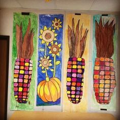 fall art projects for kids DIY fall festival banners dont get much cheaper than this. Just rolls of paper, thick black marker, and lots of crayons. Fall Art Projects, School Art Projects, Projects For Kids, Art School, Thanksgiving Art Projects, High School, Project Ideas, Middle School, Halloween Art Projects