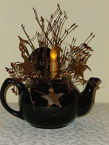 Tea Pot Light Country Primitive Home Decor Candle | eBay