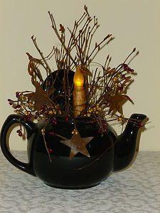 Tea Pot Light Country Primitive Home Decor Candle | eBay