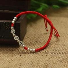 925 Sterling Silver Beads Lucky Red Rope with MONEY Charm – zenheavens Bracelet Knots, Beaded Bracelets, Coin Bracelet, Silver For Jewelry Making, Red Rope, Jade Jewelry, Silver Beads, Silver Coins, Sterling Silver