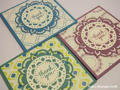 スタンピンアップ  イースタンパレス・プレミアバンドルでミニ Thank You カード! Mini Thank you card using Eastern Beauty stamp set and  Eastern Medallion Thinlits Die, Stampin' Up!