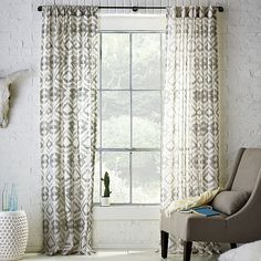 gray ikat curtains, very pretty! #momcave #cbias