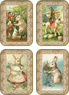 Vintage-Easter-8-bunny-rabbit-eggs-lace-antique-pictures-tags-scrapbooking