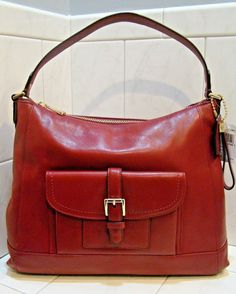 SOLD!!! - NWT Coach Leather Charlie Shoulder Hand Bag Hobo F57133E Blk Cherry! $398 Retail #Coach #ShoulderBag