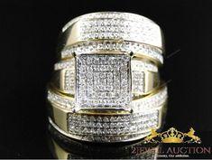 14K Yellow Gold Round Diamond Engagement Bridal Wedding Ring Trio Set 3.00 CT #2jeweluauction #WeddingEngagementAnniversary