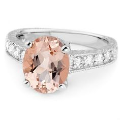 Jewelry Point - Antique Style 2.76ct Pink Morganite Diamond Engagement Ring, $990.00 (http://www.jewelrypoint.com/antique-style-2-76ct-pink-morganite-diamond-engagement-ring/)