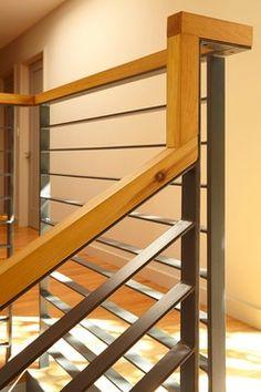 Modern single family house designed by Ohashi Design Studio. Staircase Railing Design, Interior Stair Railing, Rustic Staircase, Modern Stair Railing, Staircase Handrail, Balcony Railing Design, House Staircase, Home Stairs Design, Stair Decor