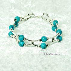 Turquoise Birthstone Bracelet. 11th Wedding Anniversary. Turquoise Bracelet Gift for Women. Healing Gem Bracelets. 2 Strand Bracelet. A0252 by SeaWitchsCavern on Etsy