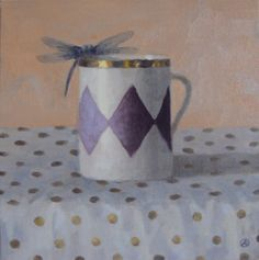 Cup with Dragonfly by Olga Antonova, 12x12 oil
