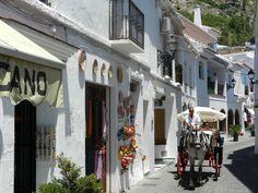 A Street in Mijas, Spain Mijas Spain, Travel Information, Travel Photos, Travel Destinations, Street View, Country, Architecture, Shops, Memories