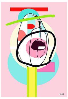 Plapot Dippy Pippy by Sam Freek - Contemporary art prints for the modern home - #art #artprint #abstractart #portrait
