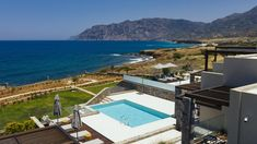 Luxury beachfront rental property Yades at a quiet Cretan village Beachfront Rentals, Rental Property, Luxury Villa, Crete, Ocean, Vacation, Villas, Outdoor Decor, Home Decor