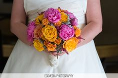 Friday Eye Candy: Fuchsia and Orange - DC Real Wedding - Bergerons Flowers - Bergerons Event Florist Blog #weddingbouquets #weddingflorals