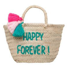 Happy Forever Embroidered Pompom Basket Rose in April Children- A large selection of Design on Smallable, the Family Concept Store - More than 600 brands. Hawaii Outfits, Straw Tote, Jute Bags, Cute Purses, Girls Bags, Summer Bags, Fashion Bags, Straw Crafts, Rope Crafts