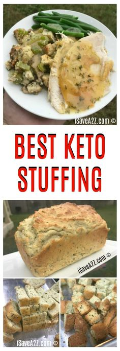 Diet Recipes Best Keto Stuffing Recipe that's made with a Keto Friendly Savory Bread! - This is by far the BEST Keto Stuffing Recipe I've ever tried! It's made with a delicious savory Keto Friendly Bread recipe that is totally worth trying! Ketogenic Recipes, Low Carb Recipes, Diet Recipes, Healthy Recipes, Ketogenic Diet, Lunch Recipes, Slimfast Recipes, Roast Recipes, Entree Recipes