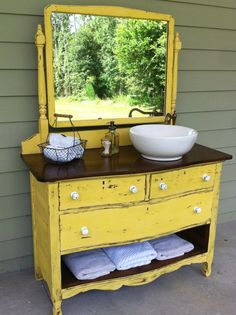 Dresser Turned Into Bathroom Vanity. I remember my mom did this when we were kids.  She was way ahead of her time.  Wonder where I get my creative bug from? Dresser Sink, Diy Vanity, Bathroom Vanity Tops, Bathroom Vanity Designs, Bathroom Ideas, Bathroom Wallpaper, Powder Room, Double Sink Vanity, Old Dressers